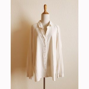 Ivory 100% Silk Button Front Blouse